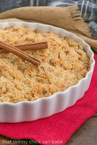 Classic Apple Crisp in a white ceramic baking dish