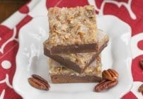 German Chocolate Brownies  fudgy brownies topped with a caramelly, coconut, pecan topping