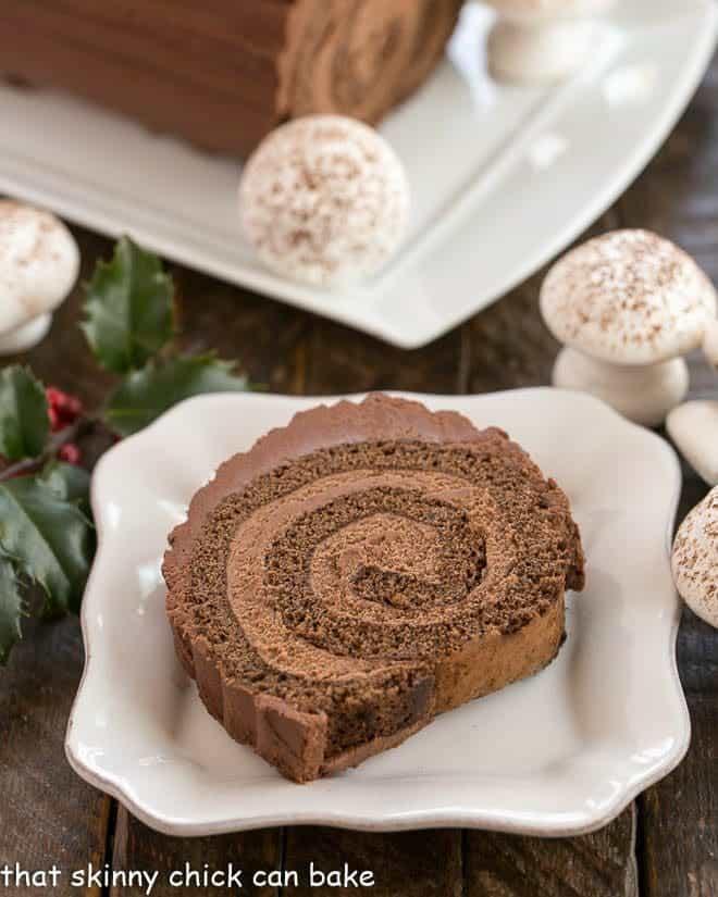 Bouche de Noel slice on a square plate