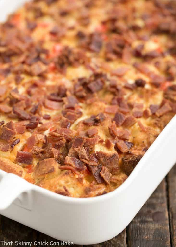 Easy Bacon and Egg Strata in a white ceramic casserole dish
