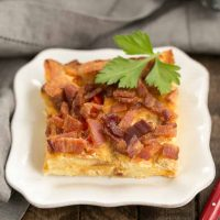 Bacon and Egg Strata | Croutons, cheese, bacon and eggs combine for an outstanding breakfast treat