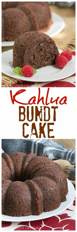 Kahlua Bundt Cake - A super easy, decadent chocolate cake! #easychocolatecake #Bundtcake #semihomemade cake #cakemixcake #kahlua