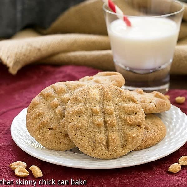 Classic Peanut Butter Cookies on a white dessert plate