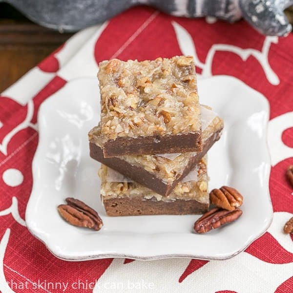 German Chocolate Brownies |fudgy brownies topped with a caramelly, coconut, pecan topping