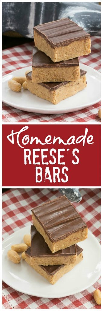 Homemade Reese's Bars Pinterest collage