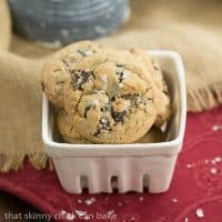 Salted Toffee Chocolate Chunk Cookies | That Skinny Chick Can Bake