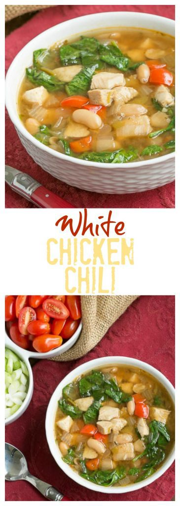 White Chicken Chili | A warm comforting soup with cannellini beans and chunks of chicken!