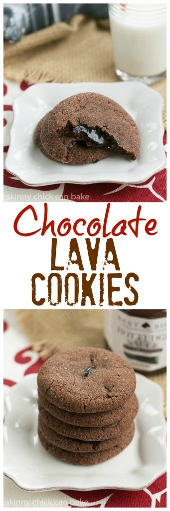 Chocolate Lava Cookies - chocolate butter cookies filled with hot fudge sauce