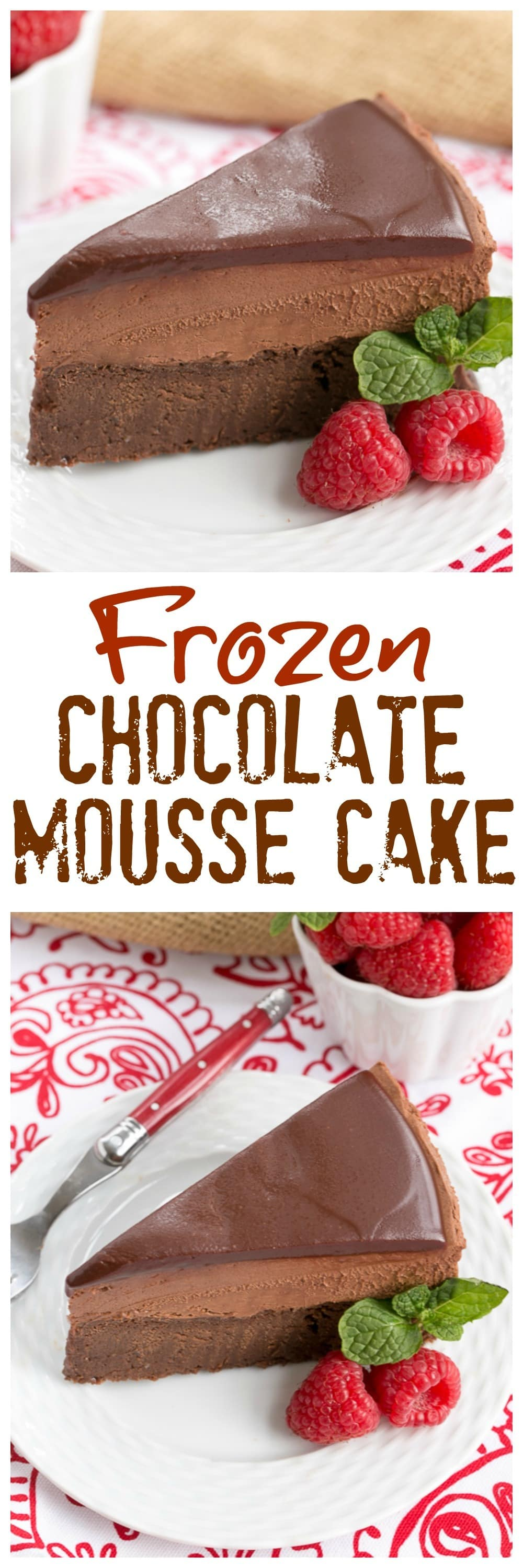 Frozen Chocolate Mousse Cake - An exquisite, frozen, swoon worthy chocolate dessert! #frozen #chocolate #mousse #moussecake