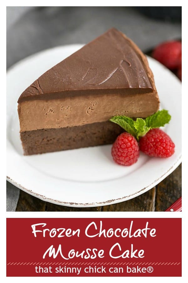 Frozen chocolate mousse pinterest image and text collage