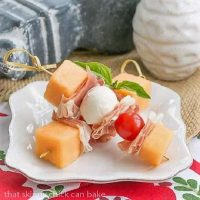 Melon and Prosciutto Skewers on a small white appetizer plate
