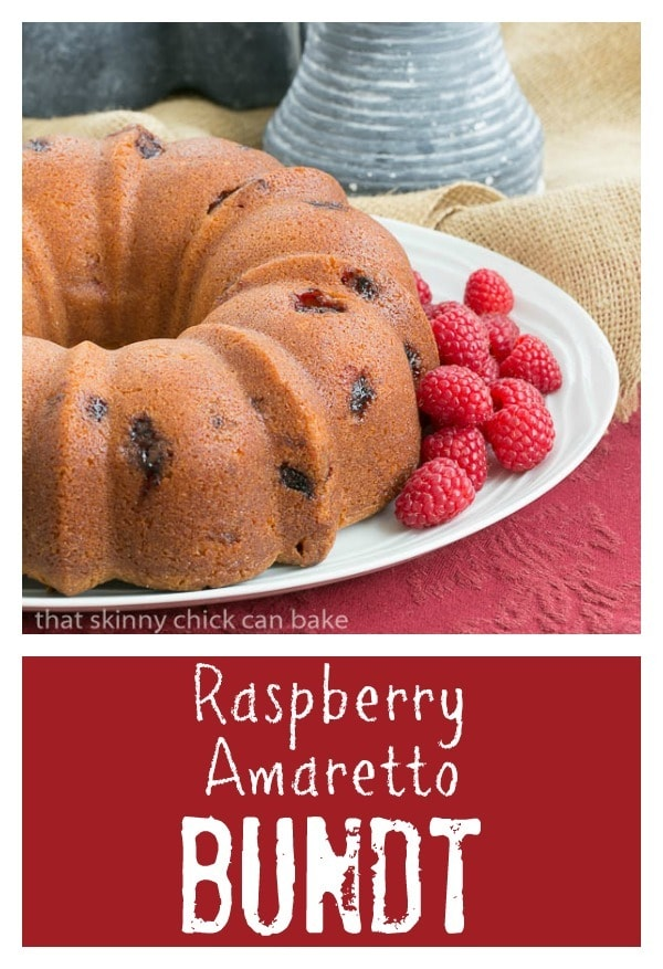 Raspberry Amaretto Bundt Cake | Pound cake full of fresh raspberries and flavored with extracts and liqueur