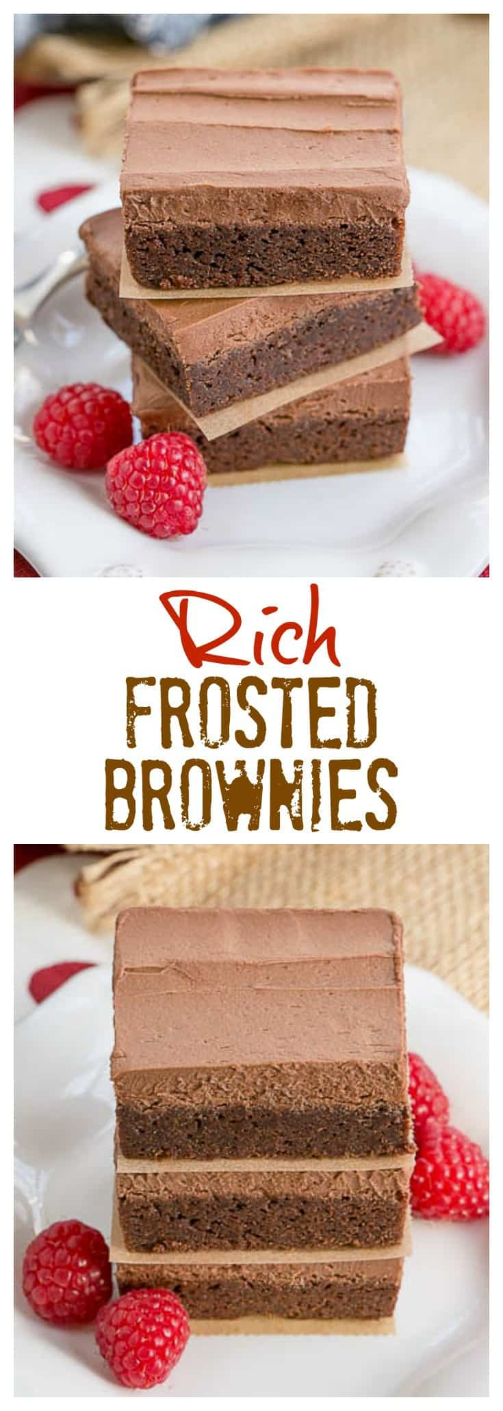 Rich Frosted Brownies - Fudgy brownies topped with rich, chocolate buttercream frosting