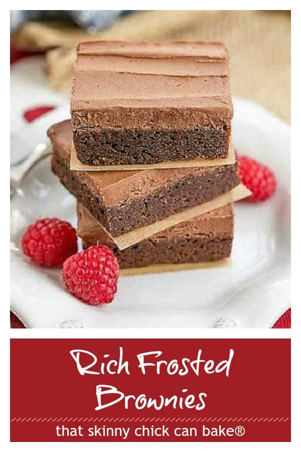 Rich frosted brownies photo and text collage