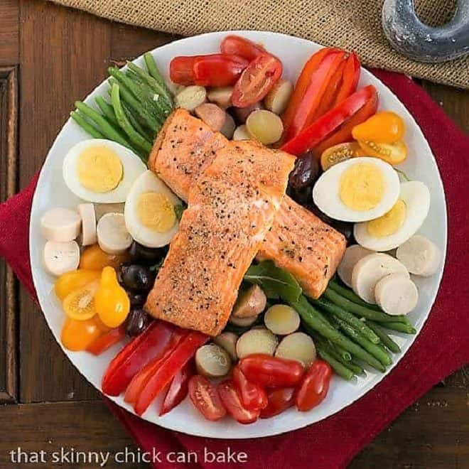 Overhead view of Salmon Salad Niçoise on a white plate