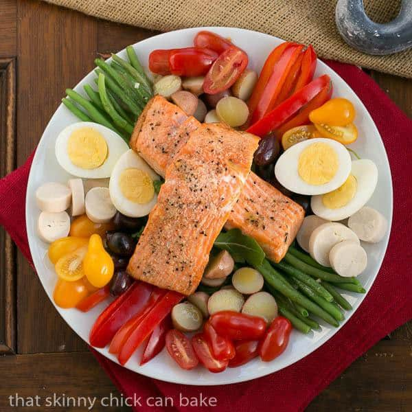 Salmon Salad Niçoise from above on a white serving plate