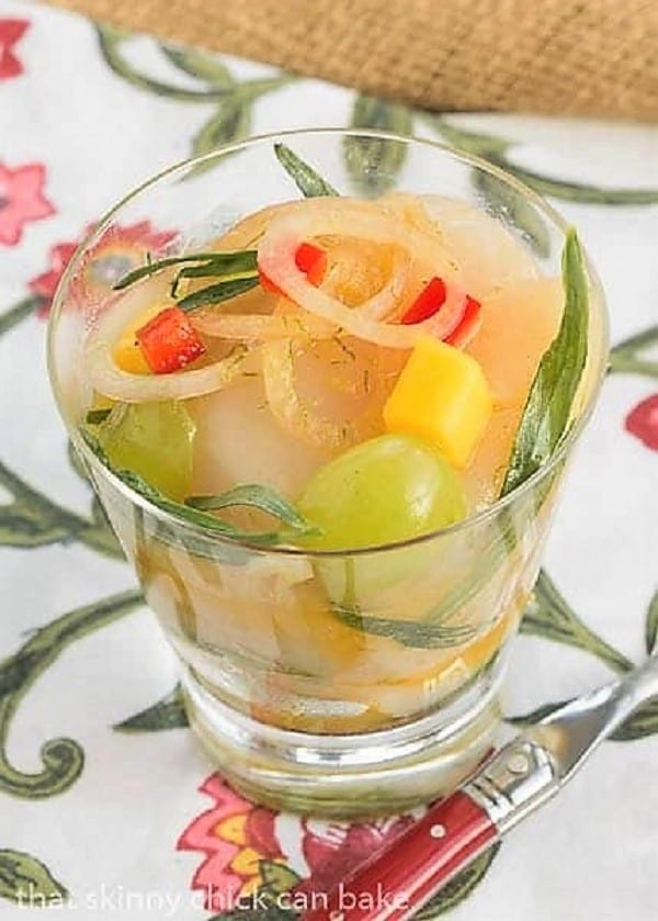 Winter Ceviche in a clear glass over a floral napkin