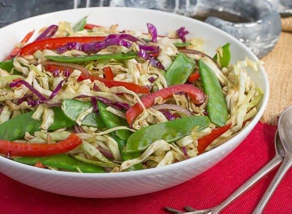 Asian Coleslaw   Crunchy, vibrant vegetables dressed with an Asian vinaigrette