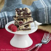 Chocolate Raspberry Crumb Bars  Shortbread, fudge, jam and a layer of crumbs makes for an out of this world bar cookie!