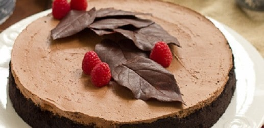 Chocolate Moussecake with Chocolate leaf garnish