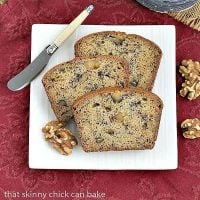 Classic Banana Walnut Bread on a square white plate