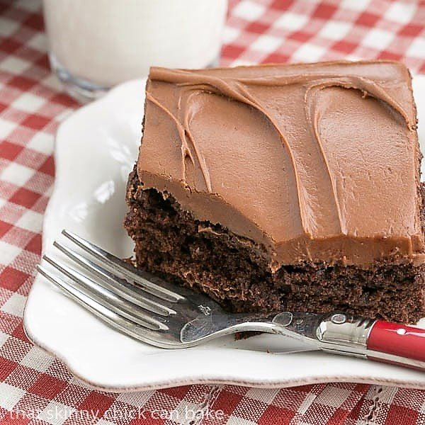 Cocoa Fudge Cake on a white plate with a red handled fork