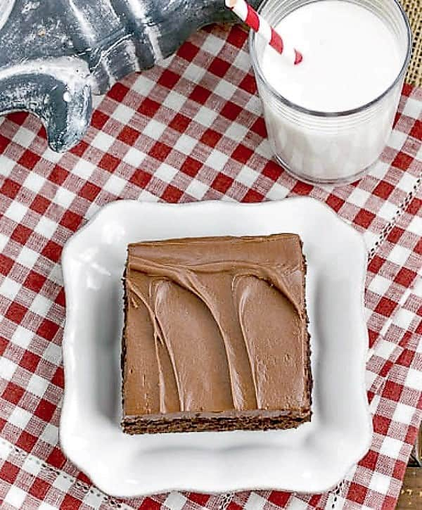 Cocoa Fudge Cake on a white dessert plate with a glass of milk