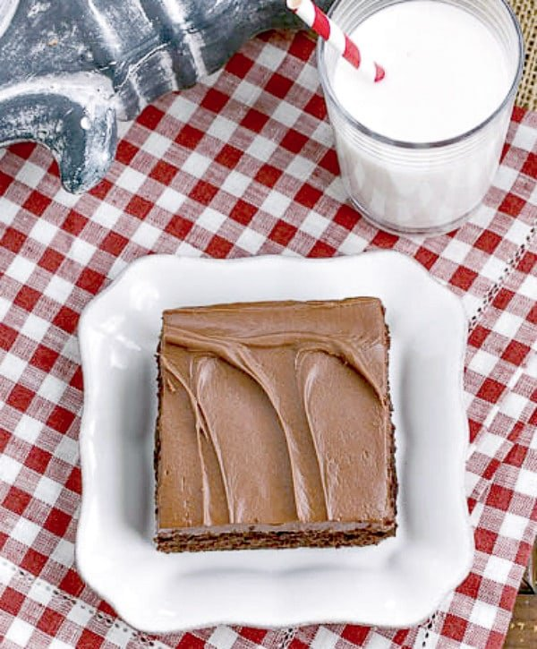 Overhead view of a slice of Cocoa Fudge Cake  on a white square plate on a red and white checked napkin