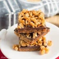 Crispy Topped Brown Sugar Bars   An elegant Rice Krispie Treat!