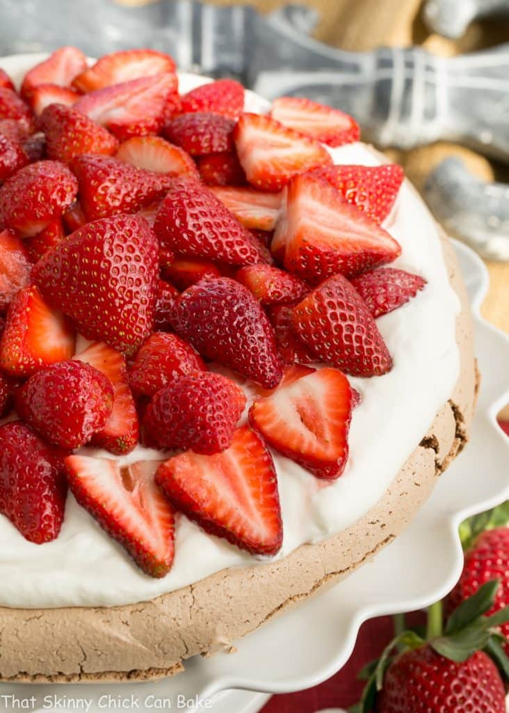 Chocolate Pavlova - A chocolate meringue topped with mascarpone cream and luscious strawberries