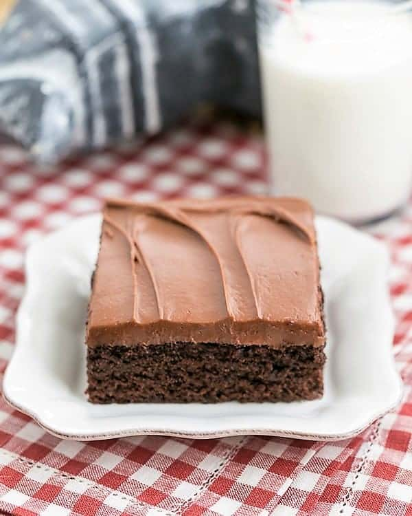 Cocoa Fudge Cake on a square white plate with a glass of milk