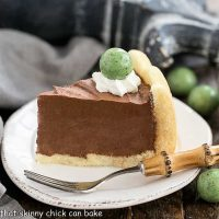 Irish Mousse Cake slice on a round white cake plate