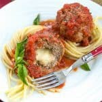Mozzarella Stuffed Meatballs | Tender meatballs filled with gooey mozzarella