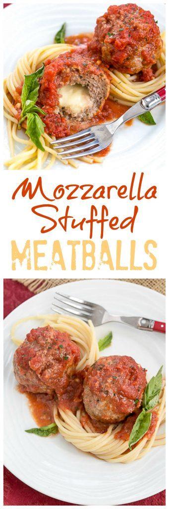 Mozzarella Stuffed Meatballs   Tender meatballs filled with gooey mozzarella
