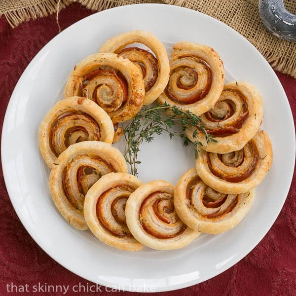 Honey Mustard Pepperoni Pinwheels - Puff pastry, mustard, Asiago and pepperoni are rolled into these irresistible pinwheels