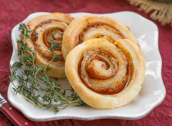 Pepperoni Pinwheels - Puff pastry, mustard, Asiago and pepperoni are rolled into these irresistible pinwheels