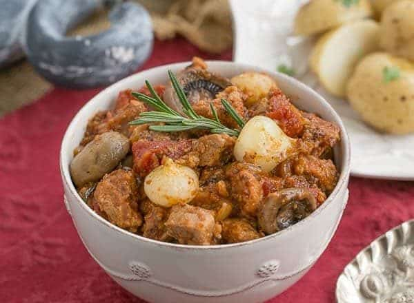 Veal Marengo | A classic French recipe with veal, tomatoes, onions and white wine