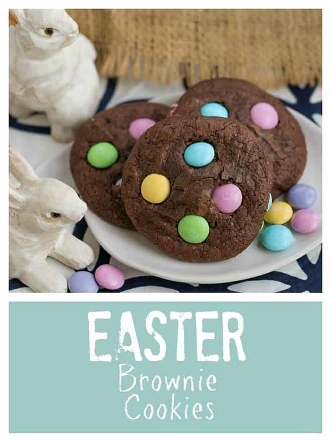 Easter Candy Brownie Cookies on a white dessert plate garnished with pastel M&M's