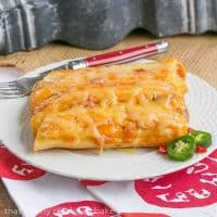 Mexican Chicken Manicotti - pasta stuffed with creamy, spicy chicken and topped with melted cheese