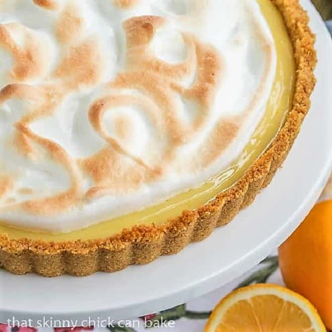 Close view of Meyer Lemon Tart with Meringue Topping on a cake stand