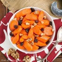 Orange Glazed Carrots | Carrots with a sweet orange glaze, walnuts and dried cranberries