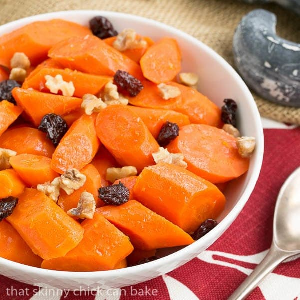 Orange Glazed Carrots - Carrots with a sweet orange glaze, walnuts and dried cranberries