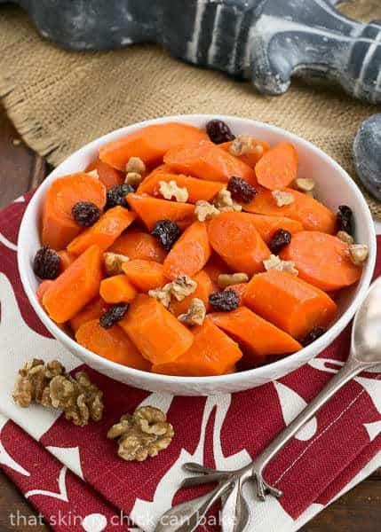 Orange Glazed Carrots | Carrots with a sweet orange glaze, walnuts and dried cranberries