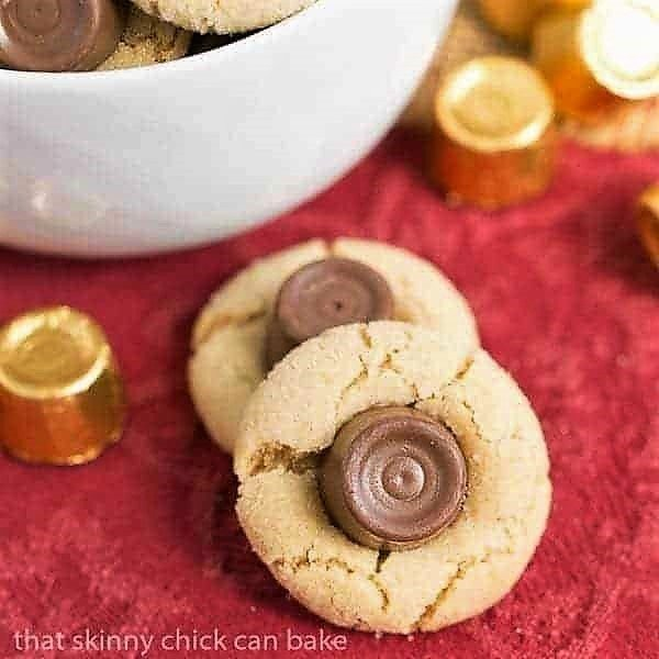 Rolo Peanut Blossoms on a red napkin