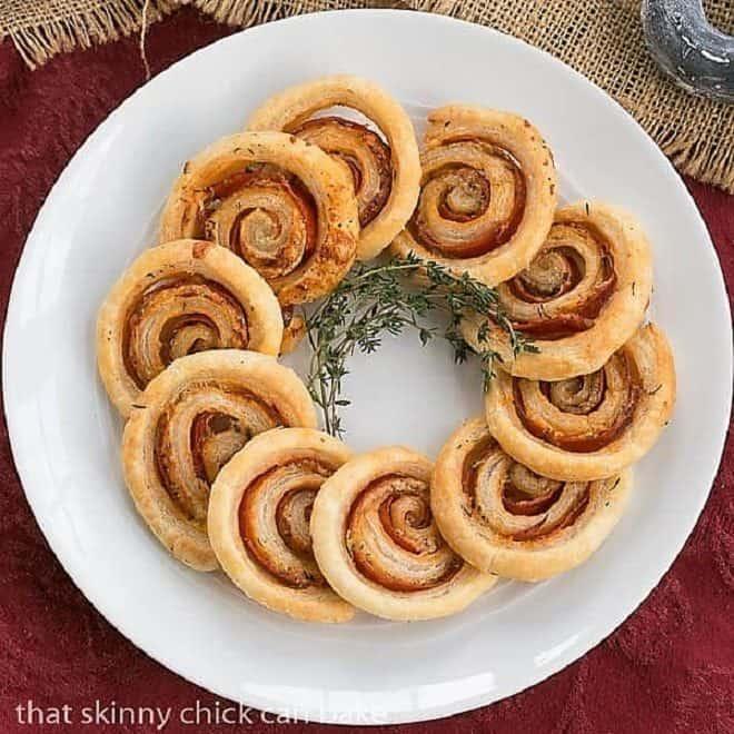 Honey Mustard Pepperoni Pinwheels overhead view on a round, white platter