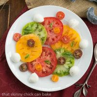 Salade de Tomates et Fromage   a simple French salad of juicy ripe tomatoes, fresh mozzarella and basil