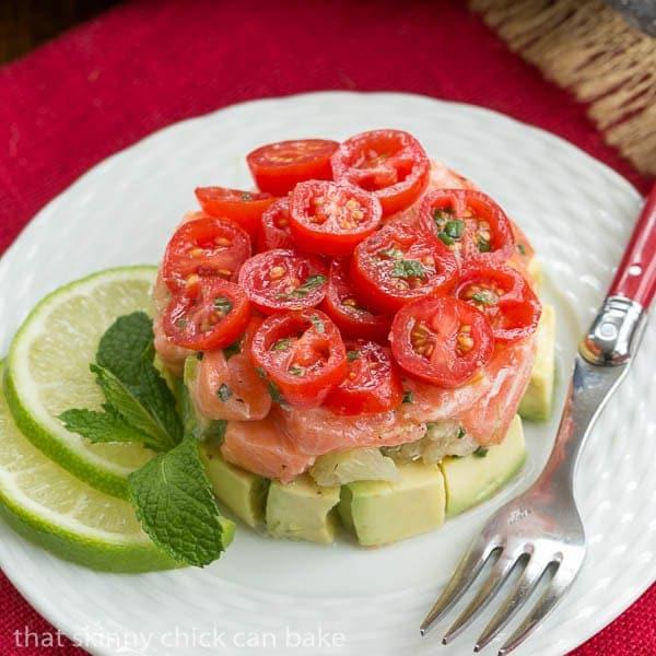 Easy Salmon Tartare on a white plate