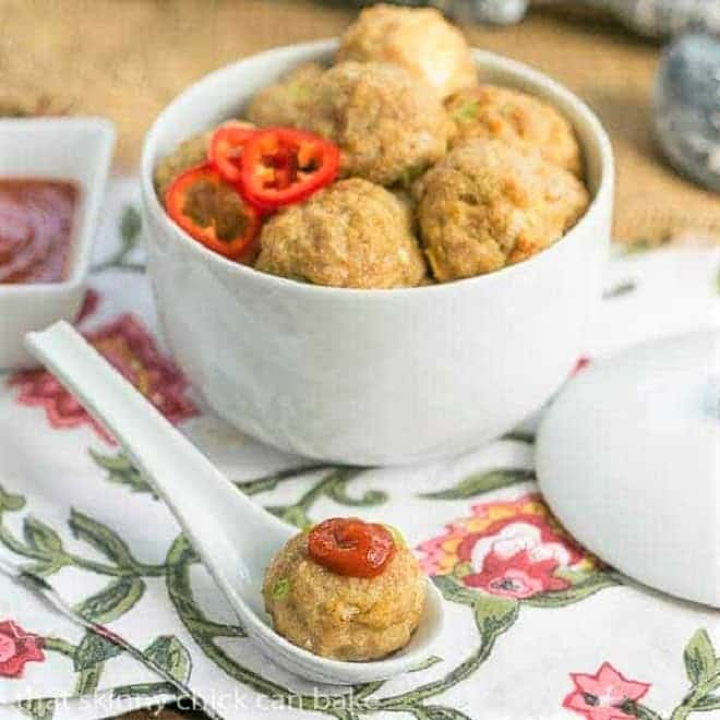 Sesame Ginger Meatballs | Asian meatballs served with Sriracha