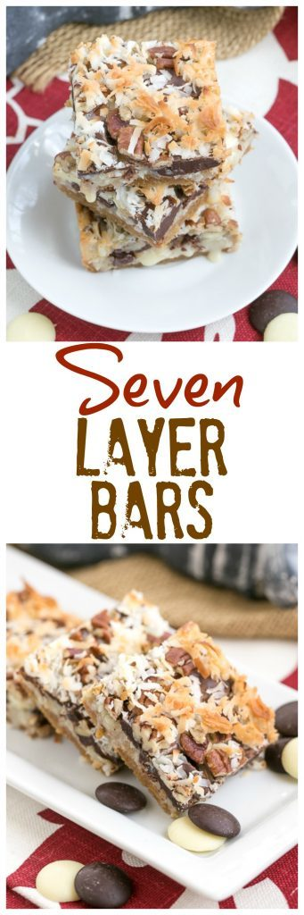 Seven Layer Bars | Graham cracker crust layered with 3 types of chocolate chips, sweetened condensed milk, coconut and pecans!