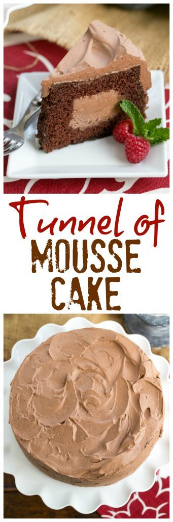 Tunnel of Mousse Cake | A fine crumb chocolate cake filled and frosting with a dreamy chocolate mousse!